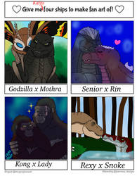 Four Kaiju Ships by FallenAngel5414