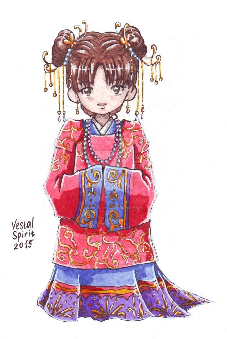 Naruto: chibi Tenten in Chinese wedding dress by Vestal-Spirit