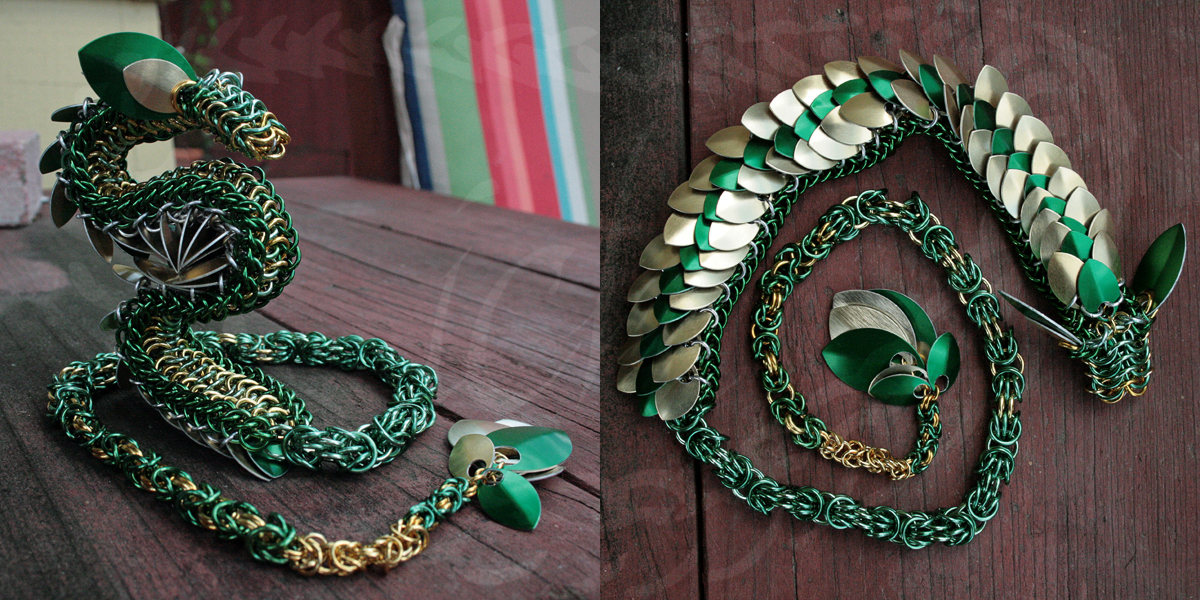 Green and Gold Chainmaille Dragon by Ichi-Black