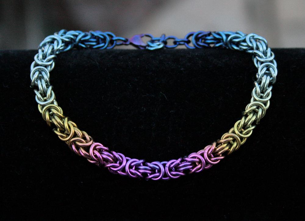 Hand Anodized Niobium Byzantine Bracelet by Ichi-Black