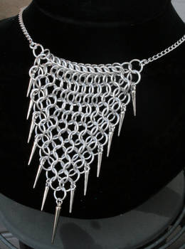 Silver Spiked Drape Necklace