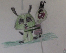 Zim (with extra long arms) and Gir in his dog suit