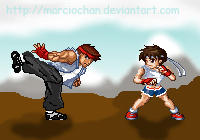 Ryu and Sakura traning day 2 by marciochan