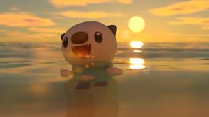 Oshawott swimming on the sea by kuby64