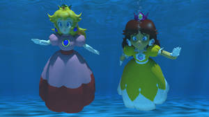 Classic Peach and Classic Daisy underwater by kuby64