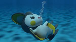 Emolga underwater by kuby64