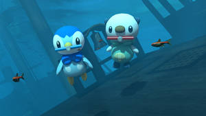 Oshawott, Piplup and the sunken ship by kuby64