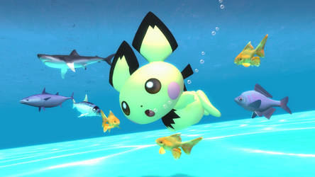 Pichu and the fishes by kuby64