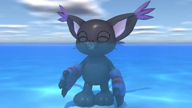 BlackGatomon making bubbles - UW view