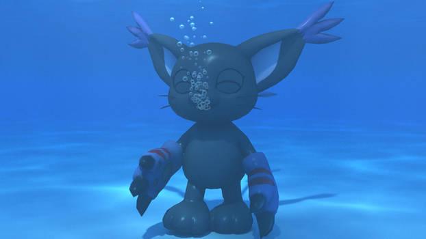 BlackGatomon making underwater bubbles