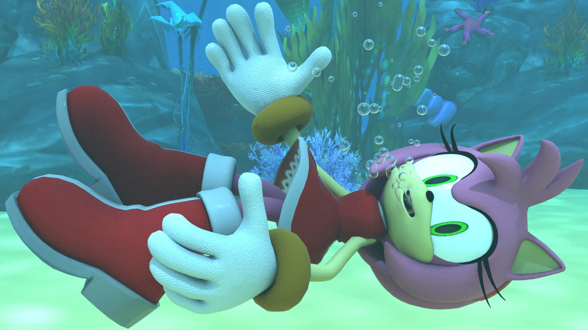 Amy Rose Underwater By Kuby64 On Deviantart