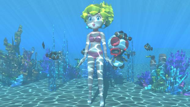 Peach underwater in a bikini 2