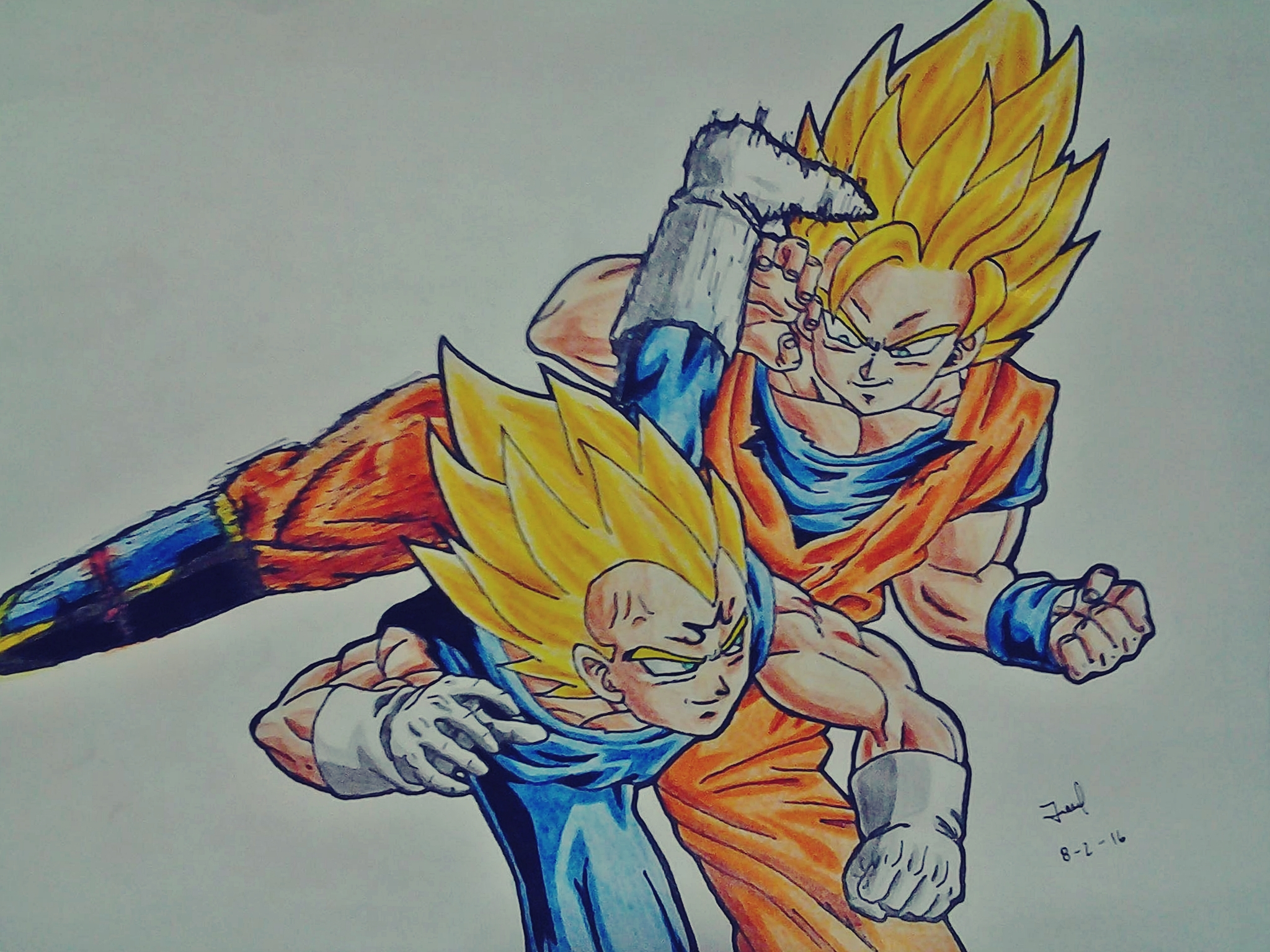 Dibujo De Goku Kakarotto Peleando Contra Vegeta Para: Goku Vs Majin Vegeta [Jelo Fan Art] By JeloRamone On