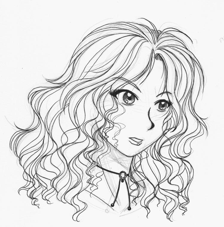 Line Art Hair : Curly cartoon hair coloring pages