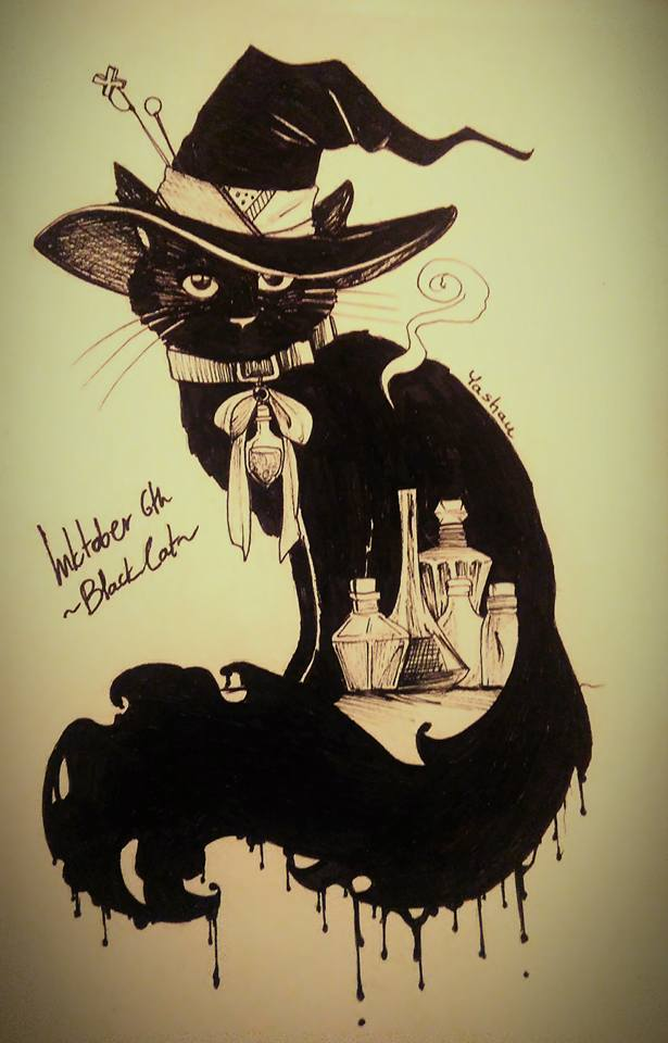 lnktober day 6: Black cat by Yashau