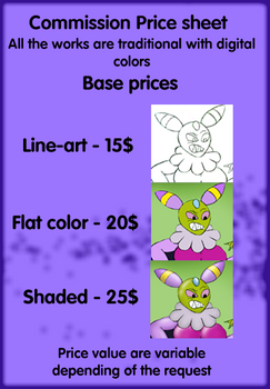 Commisson price list (open)