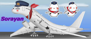 Sorayan, the Osaka airport mascot, as a 777