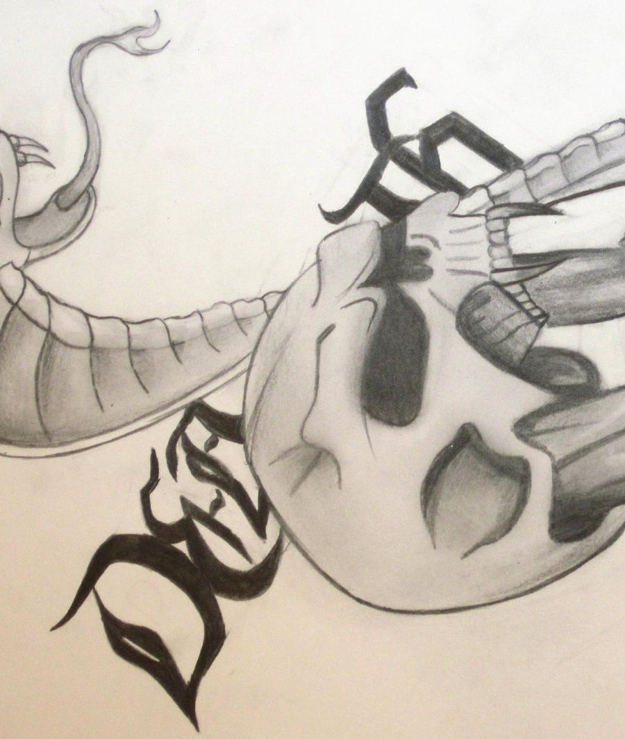 Skull and Snake drawing by xXxslipknot771xXx on DeviantArt