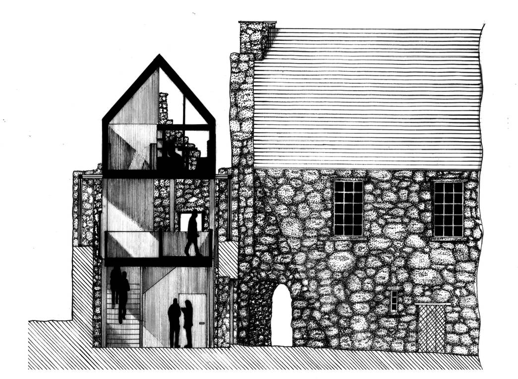 Architectural Section Pen/Ink Drawing by xXxslipknot771xXx