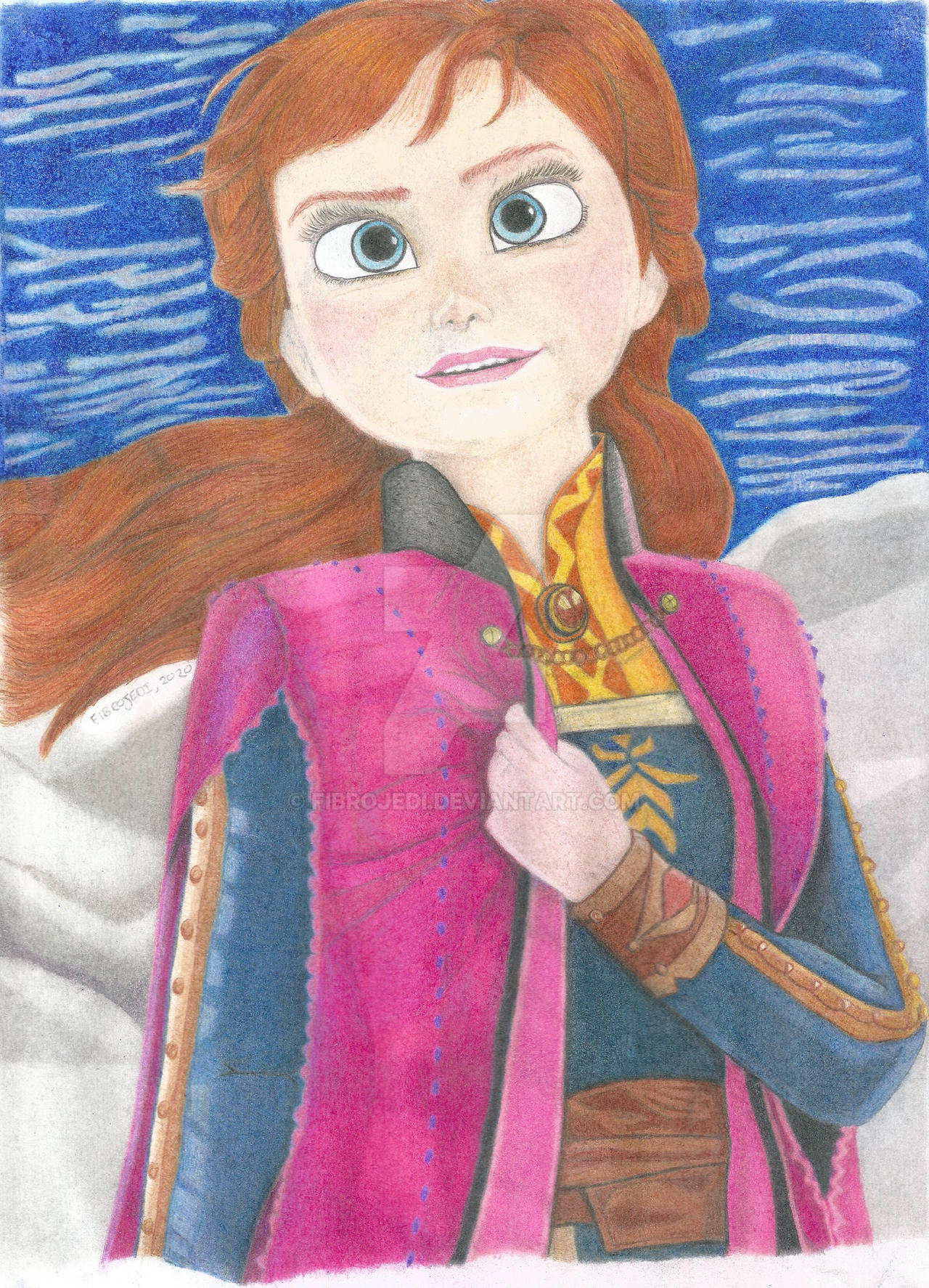Anna from Frozen 2 Coloured Pencil Drawing