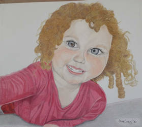 Smiling Young Girl (Child) with Curly Hair