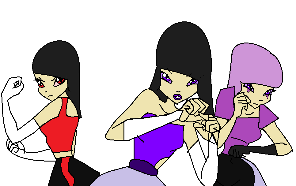 Mental girl, fire girl and dark girl by Bellasilverstar2