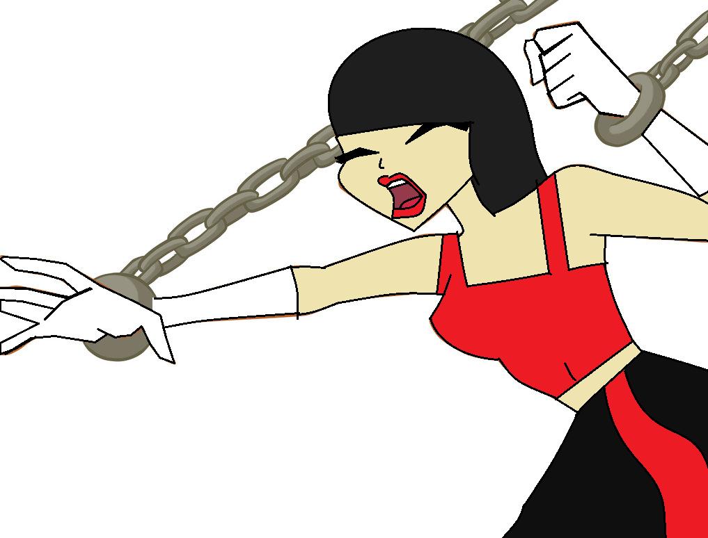 Fire girl (Talia) in chains by Bellasilverstar2