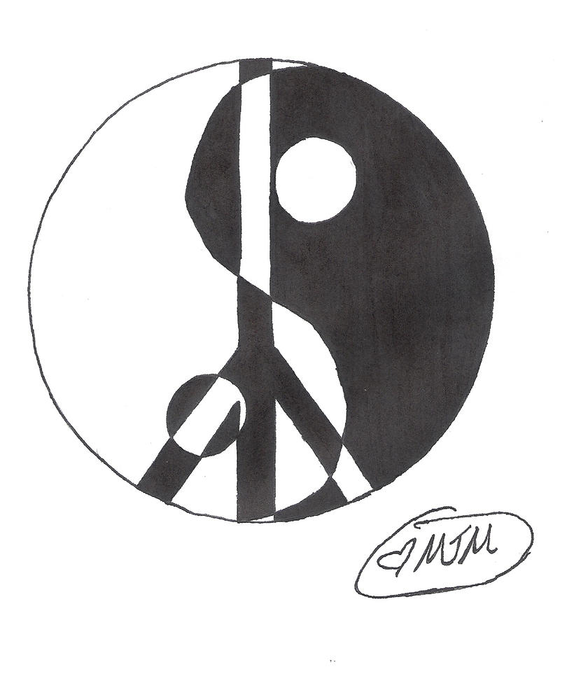 Ying Yang Peace Sign Tattoo by MidnightsMisery