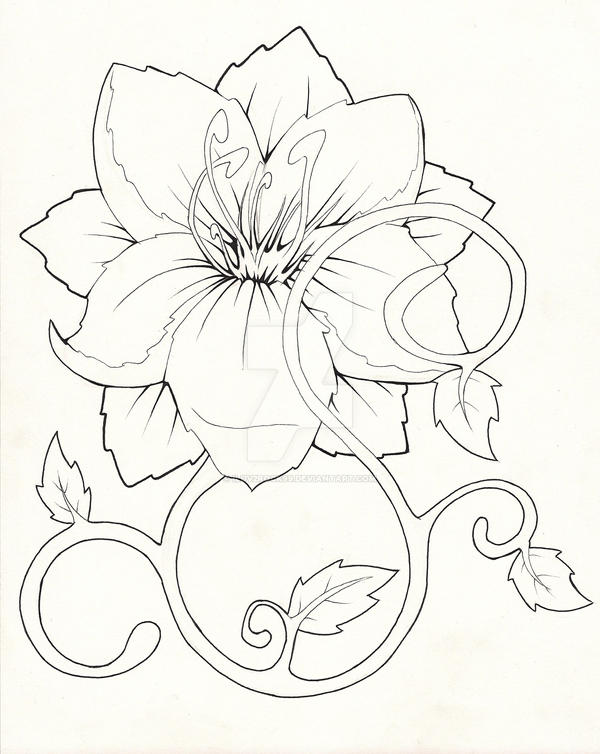 Tropical flower design by iluv2rock99 on deviantart for Hibiscus flower tattoo sketches