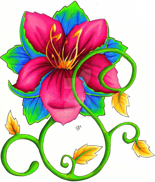 Tropical Flower Colored by iluv2rock99 on DeviantArt