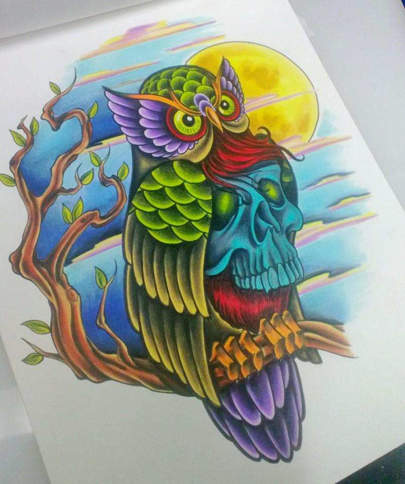 Neotraditional Tattoo Owl Design by iluv2rock99 on DeviantArt
