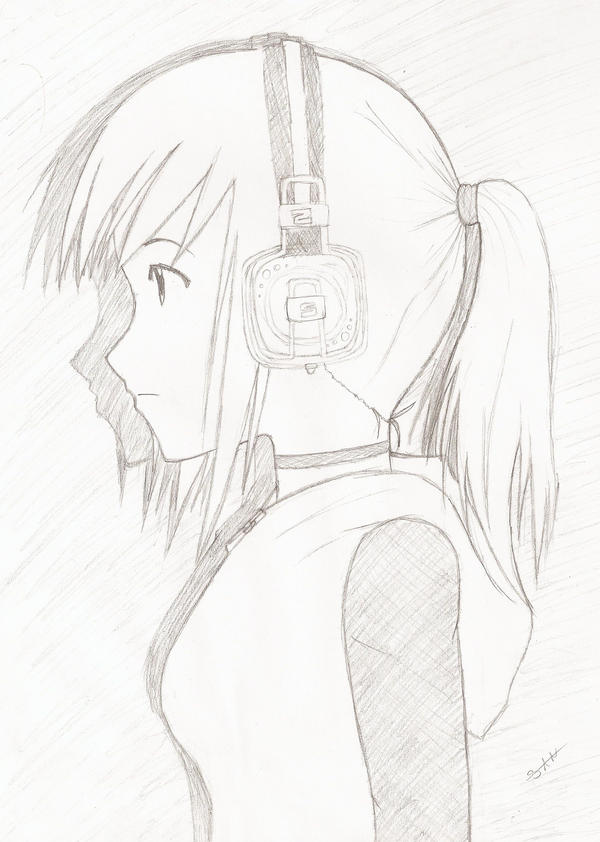 Czeshop Images Anime Girl With Headphones And Hoodie Drawing