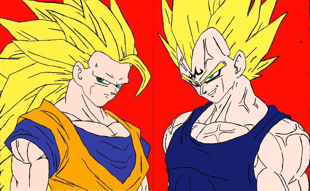 Goku And Vegeta Super Saiyan 3 Vs Majin By Animefanartafa