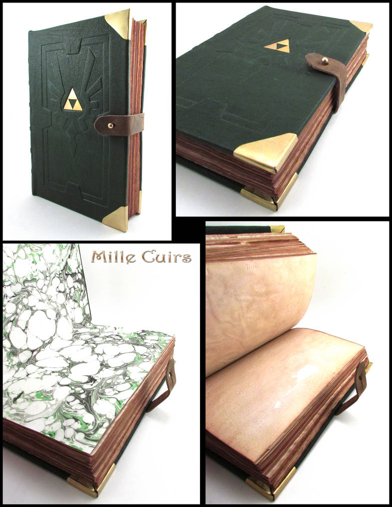 Green Hyrulean leather book by MilleCuirs