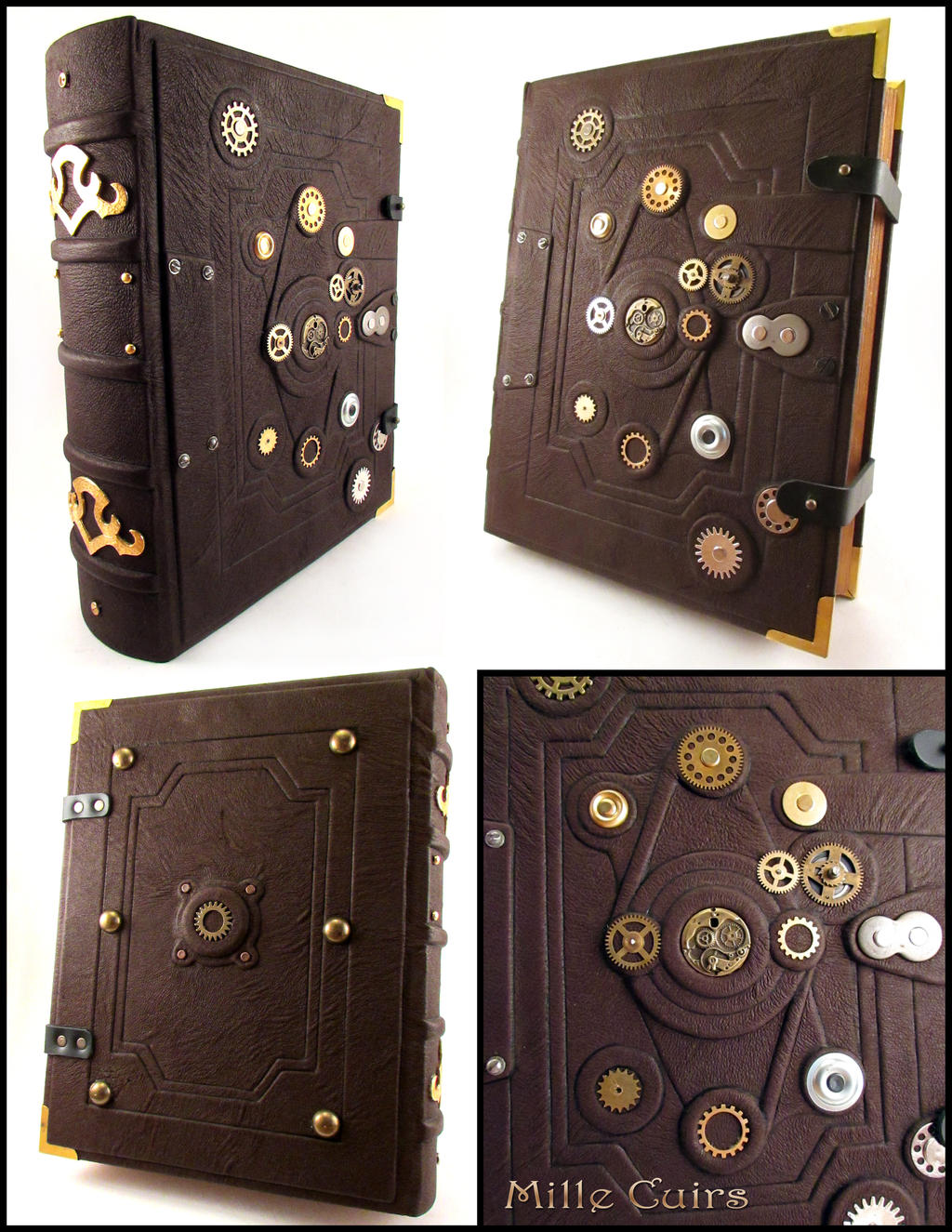 Big Steampunk Leather Book by MilleCuirs