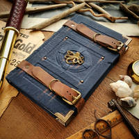Squid traveller's journal - blue leather by MilleCuirs