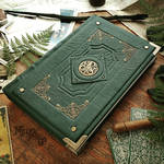 Triskellion Grimoire - Forest green leather