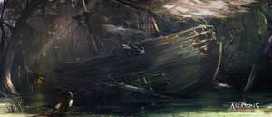 Assassin's Creed 3 : Liberation . Wrecked Ship by nachoyague