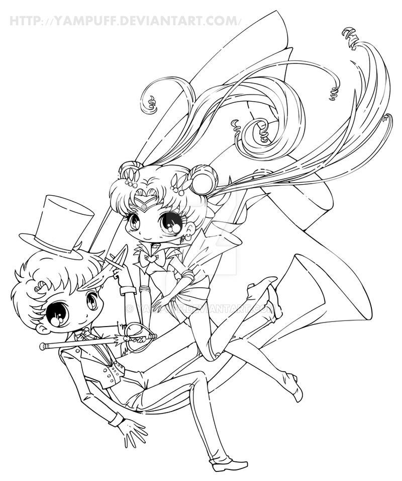 Yam Puff Chibi Kleurplaat Sailor Moon And Tuxedo Mask By Yampuff On Deviantart