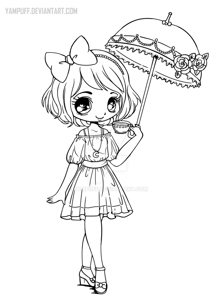 Umbrellagirl Lineart By Yampuff On Deviantart