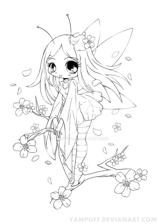 Cherry Blossom Fairy Lineart Commish