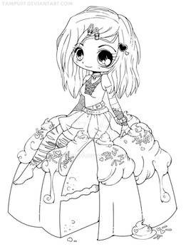 Goth Chibi on a Cake Lineart