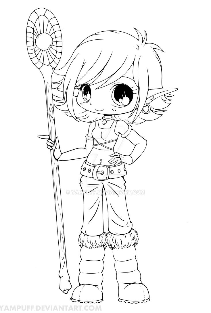 Yam Puff Kleurplaat Lana Snow Elf Chibi Lineart By Yampuff On Deviantart