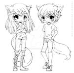 Aliex and Kiyo Lineart