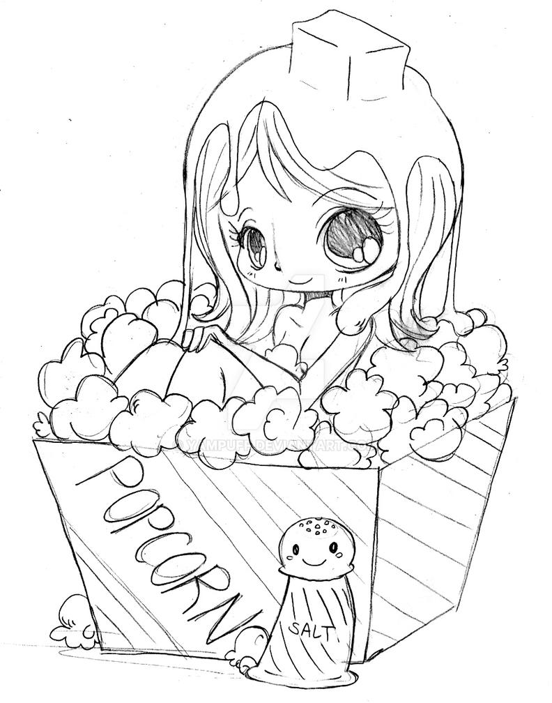 Yam Puff Kleurplaat Popcorn Chibi By Yampuff On Deviantart
