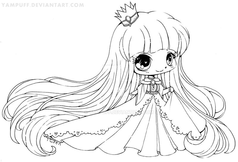 Yam Puff Chibi Kleurplaat Shopping Girl Lineart Commission By Yampuff On Deviantart