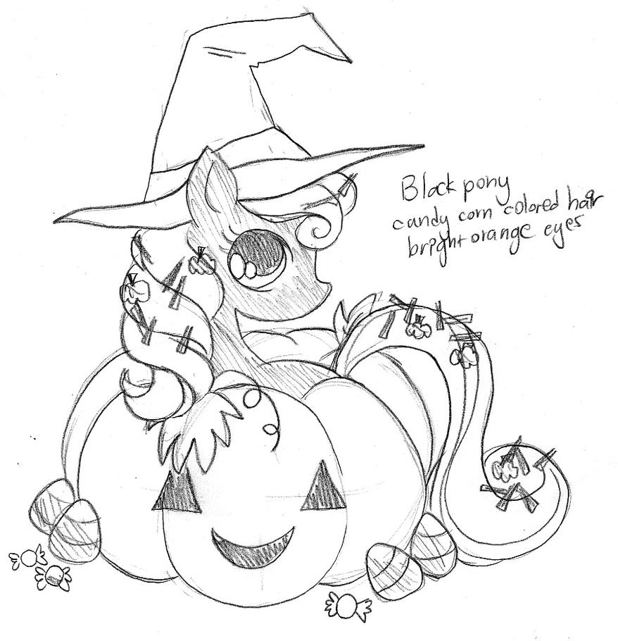 Pumpkin Halloween Pony Commission Sketch By Yampuff On