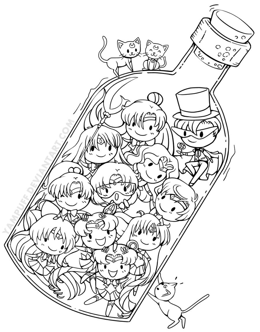 Senshi In A Bottle Coloring Pages