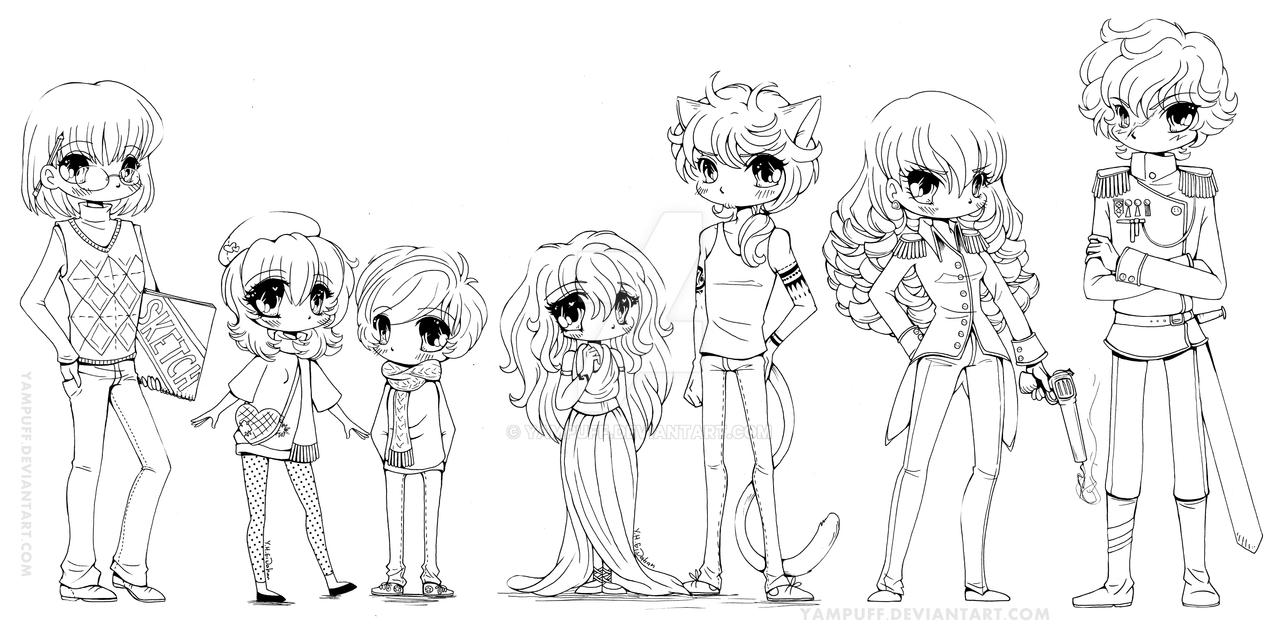 nanowrimo oc line up by yampuff on deviantart