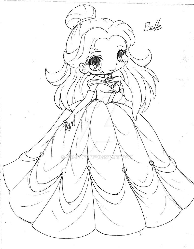 Line Art Year 2 : Belle beauty and the beast chibi sketch by yampuff on